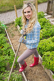 Blonde young woman working with a rake