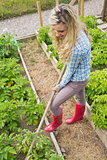 Pretty blond woman working with a rake