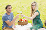 Sweet young couple having picnic