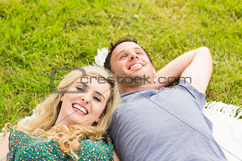 Sweet couple lying on a blanket