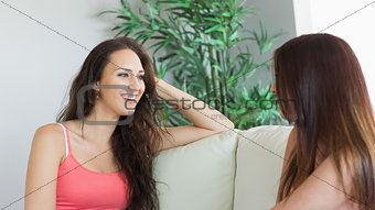 Beautiful chatting women sitting on a couch