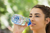 Fit cute woman drinking from sports bottle