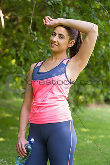 Pretty exhausted woman wearing sportswear
