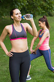 Fit woman wearing sportswear drinking water