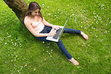 Beautiful brunette woman leaning against a tree using her notebook