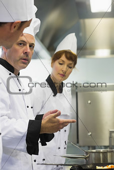 Male mature chef explaining something to a colleague