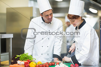 Female chef slicing vegetables with colleague