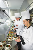 Four chefs working in a busy kitchen