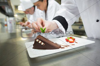 Close up of chef putting mint leaf on chocolate cake