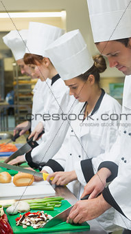 Chefs standing in a row cutting vegetables