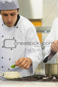 Young male chef garnishing a bowl soup