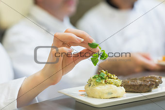 Female chef garnishing a plate with steak