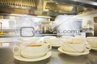 Bowls filled with hot soup
