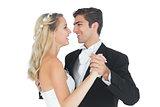 Sweet married couple dancing viennese waltz