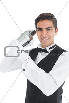 Attractive young barkeeper shaking a drink
