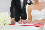 Mid section of a young couple signing wedding contract