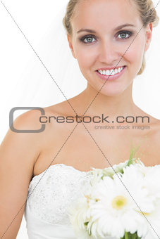 Beautiful bride posing smiling at camera