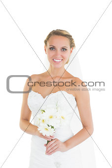 Content beautiful bride posing smiling at camera