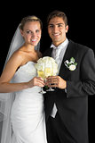 Content married couple posing holding champagne glasses