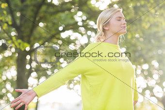 Fit happy blonde enjoying the sun