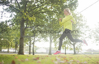Active pretty blonde jogging