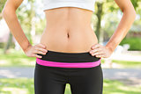 Mid section picture of toned belly from a woman