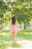 Rear view of stylish brunette walking on grass