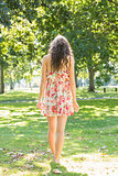Rear view of beautiful stylish brunette walking on grass