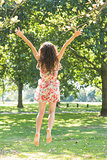 Rear view of stylish joyful brunette jumping in the air
