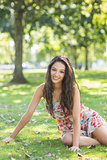 Stylish cheerful brunette sitting on grass