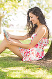 Stylish pretty brunette sitting under a tree using tablet