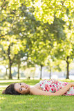 Stylish gorgeous brunette lying on a lawn