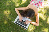 Stylish brunette lying on the grass typing at her laptop