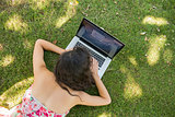 Stylish brunette lying on the grass using her laptop