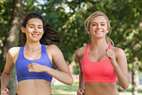 Two beautiful sporty women jogging in a park