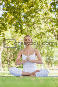 Calm beautiful woman meditating sitting in a park