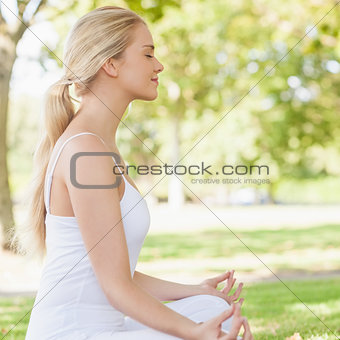 Side view of ponytailed calm woman meditating sitting in a park