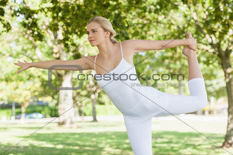 Calm young woman doing yoga standing in a park