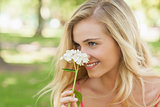 Content young woman smelling a white flower