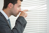 Handsome calm businessman spying through roller blind