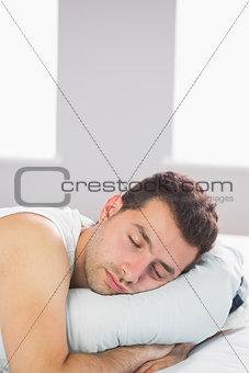 Sleepy handsome man relaxing in bed
