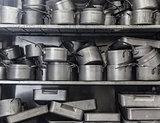 Shelf full of pans