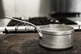 Chrome pot standing on hotplate
