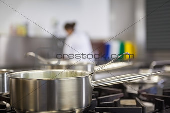 Chrome pot cooking on hotplates