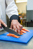 Close up of chef slicing raw salmon with sharp knife