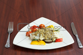 Front view of delicious fish meal
