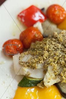 Close up of delicious fish dish