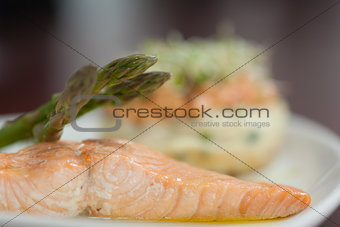 Close up of salmon dish with asparagus