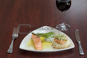 Front view of salmon dish with asparagus