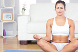 Calm young woman in sportswear sitting in lotus position on her exercise mat
